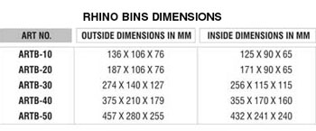 Alkon Rhino Bin Sizes