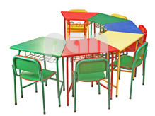 Table and Chair in Semi Circle Formation